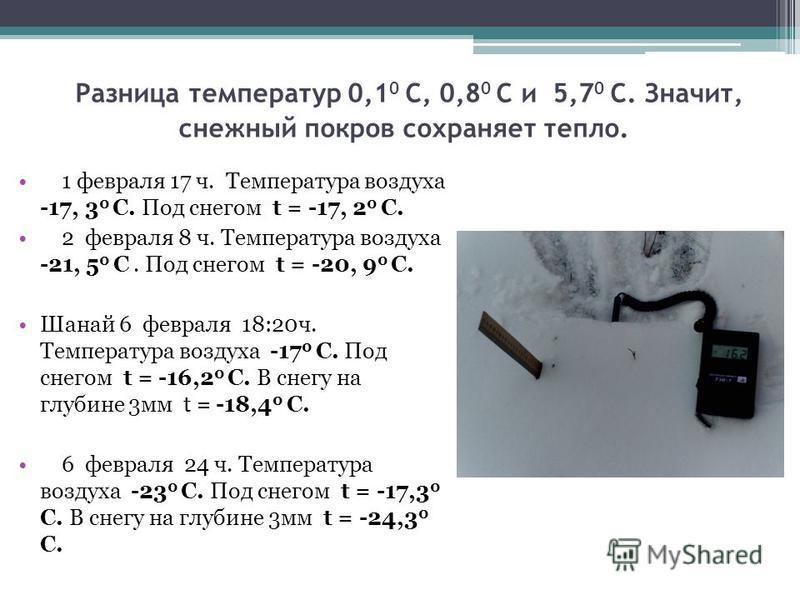 Разница температур 0,1 0 С, 0,8 0 С и 5,7 0 С. Значит, снежный покров сохраняет тепло. 1 февраля 17 ч. Температура воздуха -17, 3 0 С. Под снегом t = -17, 2 0 С. 2 февраля 8 ч. Температура воздуха -21, 5 0 С. Под снегом t = -20, 9 0 С. Шанай 6 феврал