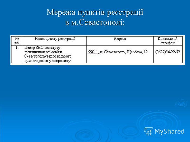 Мережа пунктів реєстрації в м.Севастополі: