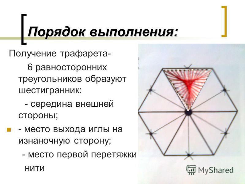 Порядок выполнения: Получение трафарета- 6 равносторонних треугольников образуют шестигранник: - середина внешней стороны; - место выхода иглы на изнаночную сторону; - место первой перетяжки нити