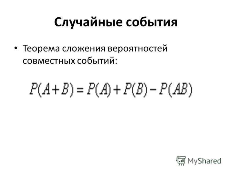 Случайные события Теорема сложения вероятностей совместных событий: