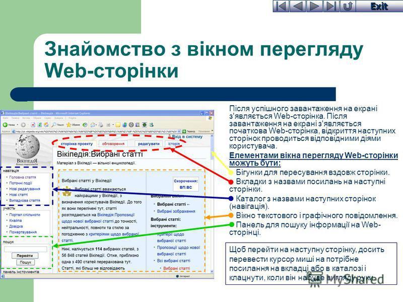 Exit Знайомство з вікном перегляду Web-сторінки Після успішного завантаження на екрані з'являється Web-сторінка. Після завантаження на екрані з'являється початкова Web-сторінка, відкриття наступних сторінок проводиться відповідними діями користувача.