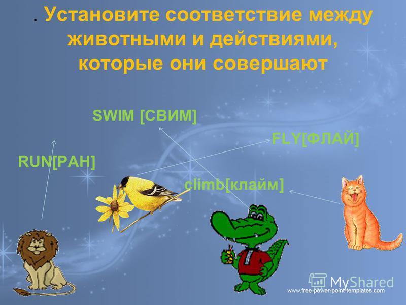 . Установите соответствие между животными и действиями, которые они совершают SWIM [СВИМ] FLY[ФЛАЙ] RUN[РАН] climb[клайм]