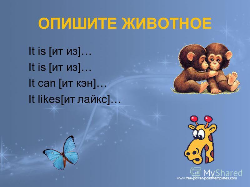 ОПИШИТЕ ЖИВОТНОЕ It is [ит из]… It can [ит кен]… It likes[ит лайкс]…