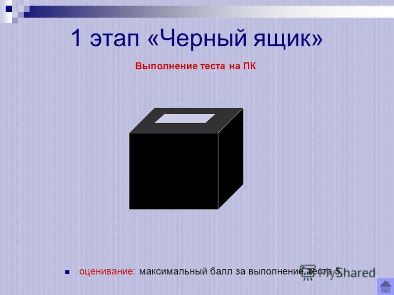 1 этап «Черный ящик» оценивание: максимальный балл за выполнение теста 5 Выполнение теста на ПК