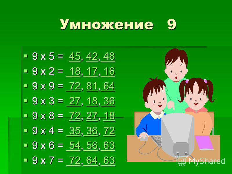 Умножение 9 9 х 5 = 45, 42, 48 9 х 5 = 45, 42, 484542 484542 48 9 х 2 = 18, 17, 16 9 х 2 = 18, 17, 16 18 17 16 18 17 16 9 х 9 = 72, 81, 64 9 х 9 = 72, 81, 64 7281 64 7281 64 9 х 3 = 27, 18, 36 9 х 3 = 27, 18, 36 2718 36 2718 36 9 х 8 = 72, 27, 18 9 х