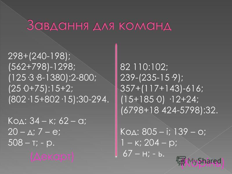 298+(240-198); (562+798)-1298; (125·3·8-1380):2-800; (25·0+75):15+2; (802·15+802·15):30-294. Код: 34 – к; 62 – а; 20 – д; 7 – е; 508 – т; - р. 82 110:102; 239-(235-15·9); 357+(117+143)-616; (15+185·0) ·12+24; (6798+18 424-5798):32. Код: 805 – і; 139