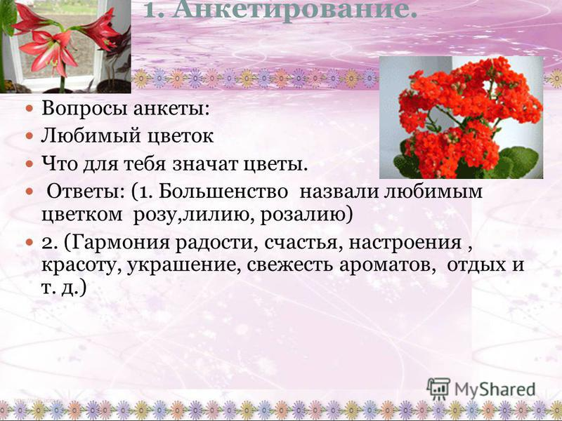 1. Анкетирование. Вопросы анкеты: Любимый цветок Что для тебя значат цветы. Ответы: (1. Большенство назвали любимым цветком розу,лилию, розалию) 2. (Гармония радости, счастья, настроения, красоту, украшение, свежесть ароматов, отдых и т. д.)