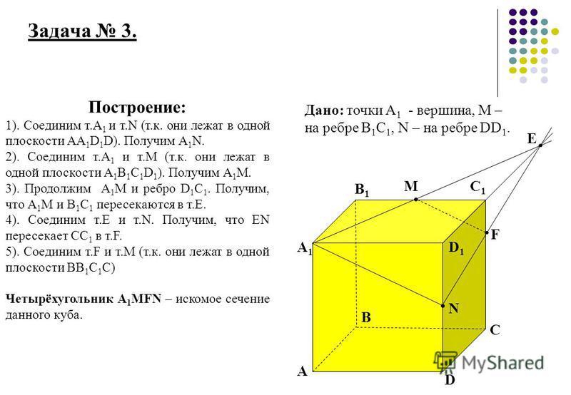Задача 3. A A1A1 B B1B1 C C1C1 D D1D1 M F E Дано: точки А 1 - вершина, М – на ребре В 1 С 1, N – на ребре DD 1. Построение: 1). Соединим т.А 1 и т.N (т.к. они лежат в одной плоскости АА 1 D 1 D). Получим А 1 N. 2). Соединим т.А 1 и т.М (т.к. они лежа