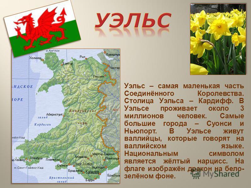 Уэльс – самая маленькая часть Соединённого Королевства. Столица Уэльса – Кардифф. В Уэльсе проживает около 3 миллионов человек. Самые большие города – Суонси и Ньюпорт. В Уэльсе живут валлийцы, которые говорят на валлийском языке. Национальным символ