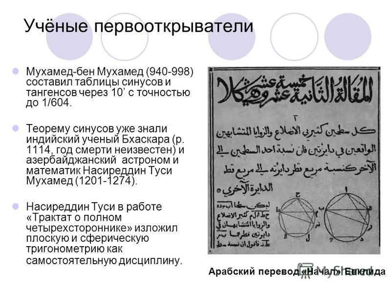 Учёные первооткрыватели Мухамед-бен Мухамед (940-998) составил таблицы синусов и тангенсов через 10 с точностью до 1/604. Теорему синусов уже знали индийский ученый Бхаскара (р. 1114, год смерти неизвестен) и азербайджанский астроном и математик Наси