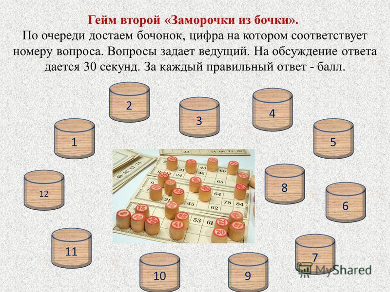 Гейм второй «Заморочки из бочки». По очереди достаем бочонок, цифра на котором соответствует номеру вопроса. Вопросы задает ведущий. На обсуждение ответа дается 30 секунд. За каждый правильный ответ - балл. 15 2 3 6 7 910 11 12 8 4
