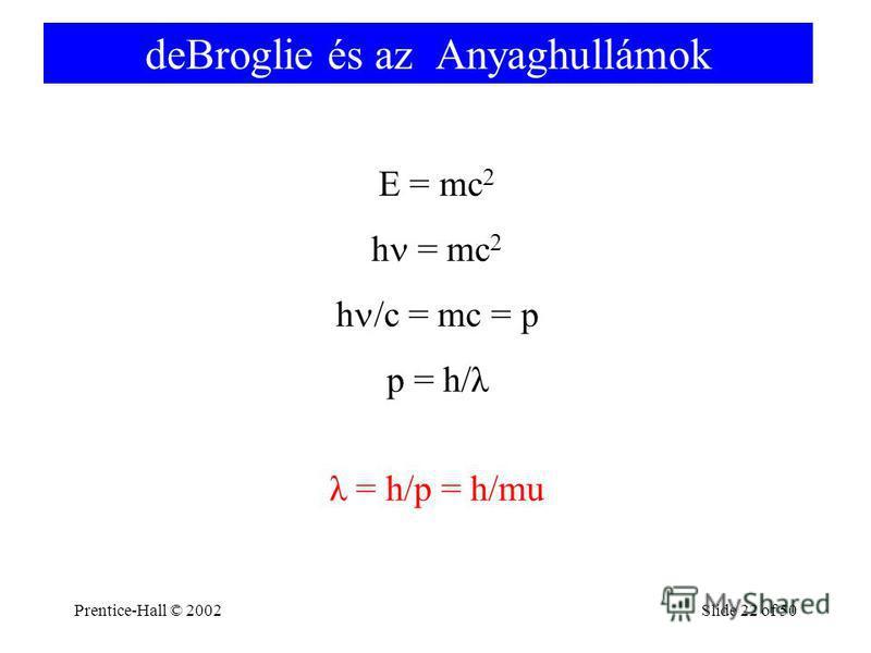 Prentice-Hall © 2002Slide 22 of 50 deBroglie és az Anyaghullámok E = mc 2 h = mc 2 h /c = mc = p p = h/λ λ = h/p = h/mu
