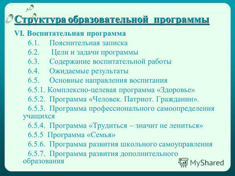 Структура образовательной программы VI. Воспитательная программа 6.1. Пояснительная записка 6.2. Цели и задачи программы 6.3. Содержание воспитательной работы 6.4. Ожидаемые результаты 6.5. Основные направления воспитания 6.5.1. Комплексно-целевая пр