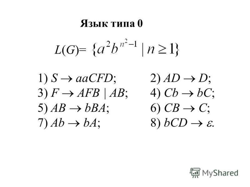 Язык типа 0 L(G)= 1) S aaCFD;2) AD D; 3) F AFB | AB;4) Cb bC; 5) AB bBA;6) CB C; 7) Ab bA;8) bCD.