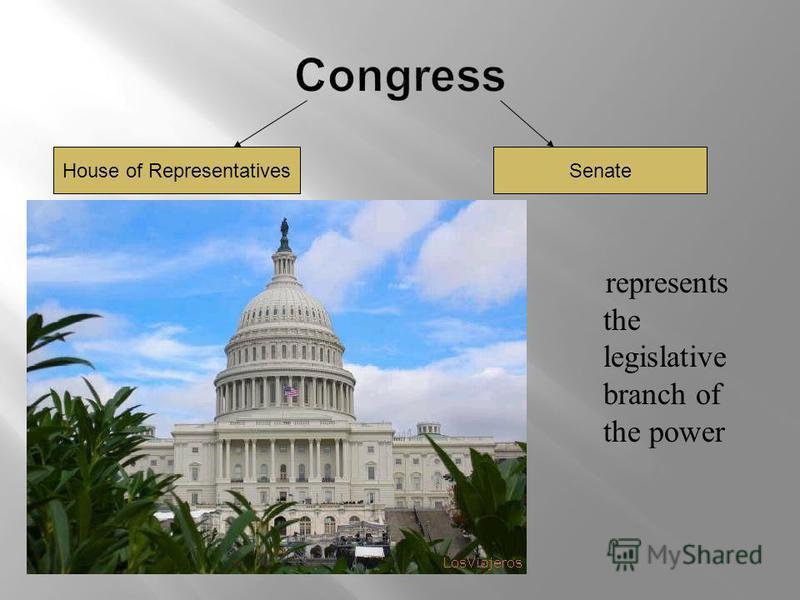 represents the legislative branch of the power House of RepresentativesSenate
