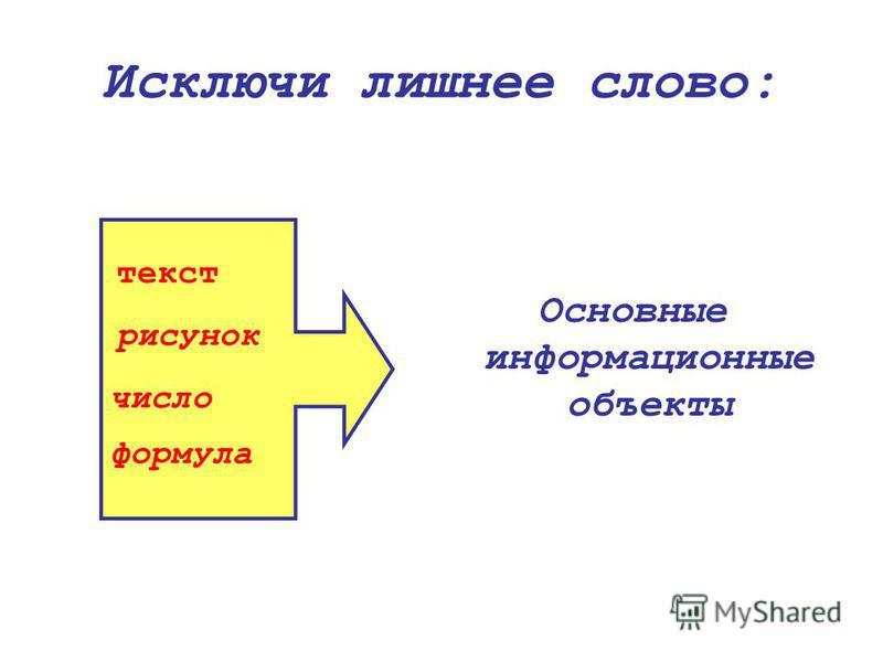 Исключи лишнее слово: Основные информационные объекты текст рисунок число формула