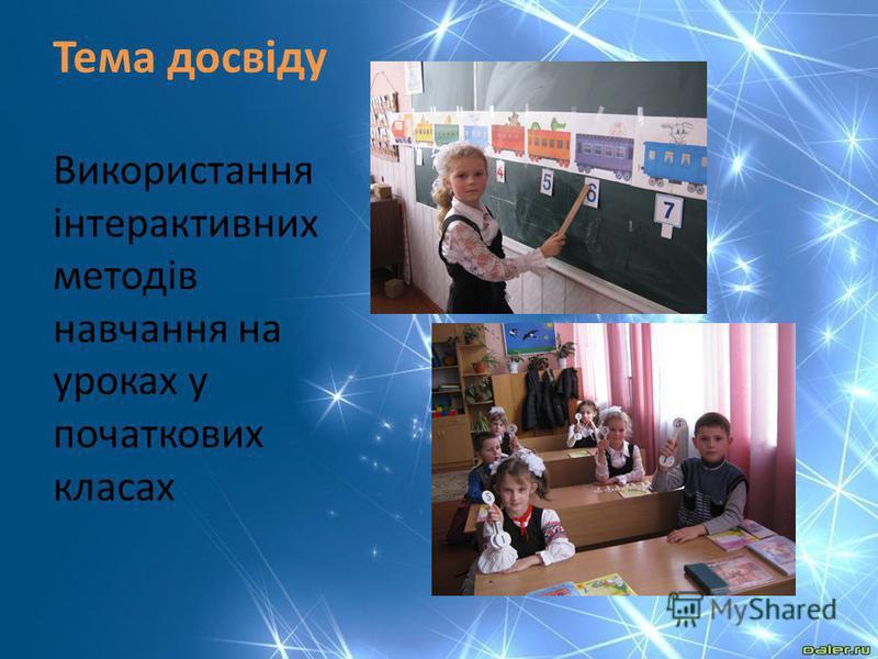 Тема досвіду Використання інтерактивних методів навчання на уроках у початкових класах
