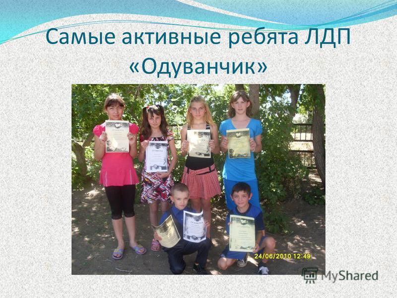Самые активные ребята ЛДП «Одуванчик»