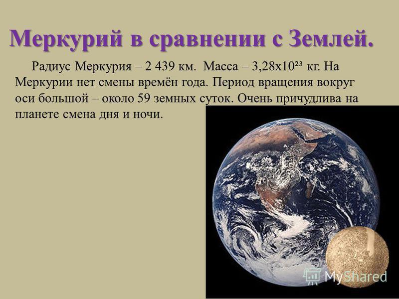 Меркурий в сравнении с Землей. Радиус Меркурия – 2 439 км. Масса – 3,28 х 10²³ кг. На Меркурии нет смены времён года. Период вращения вокруг оси большой – около 59 земных суток. Очень причудлива на планете смена дня и ночи.