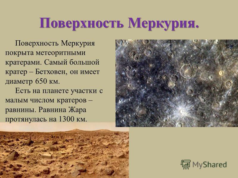 Поверхность Меркурия. Поверхность Меркурия покрыта метеоритными кратерами. Самый большой кратер – Бетховен, он имеет диаметр 650 км. Есть на планете участки с малым числом кратеров – равнины. Равнина Жара протянулась на 1300 км.