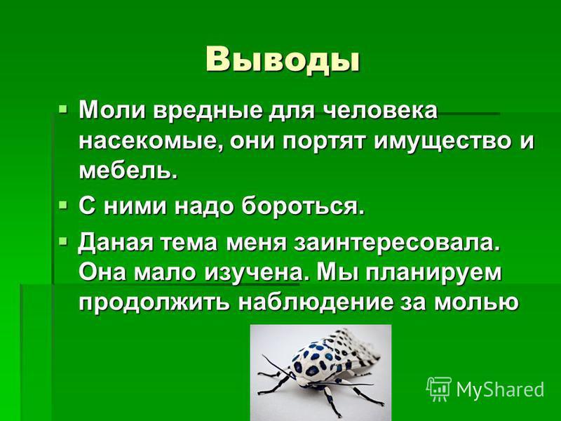Выводы Выводы Моли вредные для человека насекомые, они портят имущество и мебель. Моли вредные для человека насекомые, они портят имущество и мебель. С ними надо бороться. С ними надо бороться. Даная тема меня заинтересовала. Она мало изучена. Мы пла