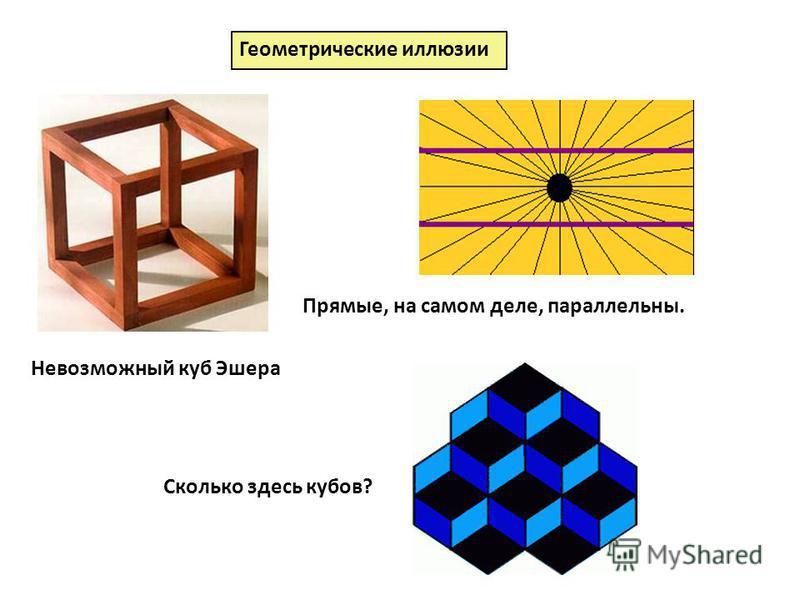 Геометрические иллюзии Невозможный куб Эшера Прямые, на самом деле, параллельны. Сколько здесь кубов?