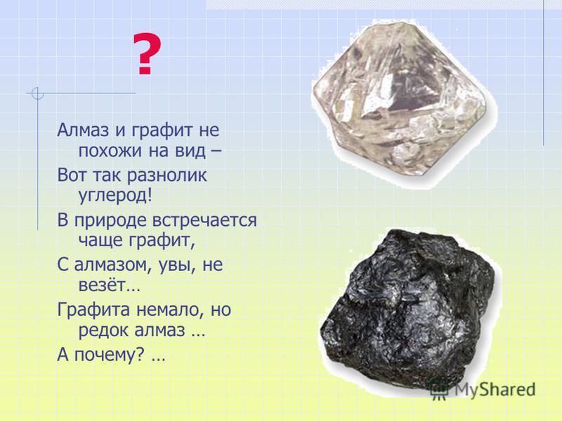 ? Алмаз и графит не похожи на вид – Вот так разнолик углерод! В природе встречается чаще графит, С алмазом, увы, не везёт… Графита немало, но редок алмаз … А почему? …