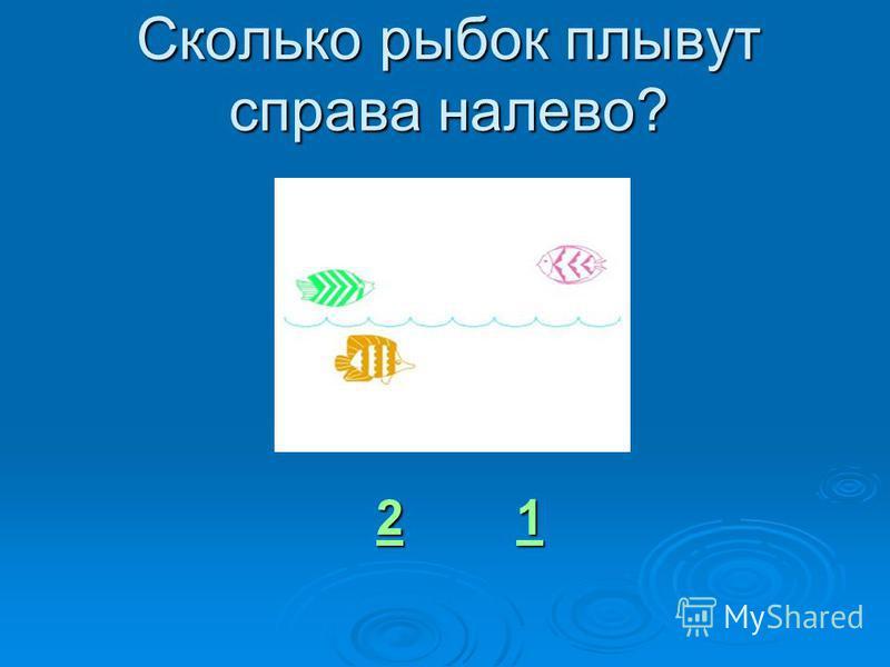 Сколько рыбок плывут справа налево? 22 1 1 2 1
