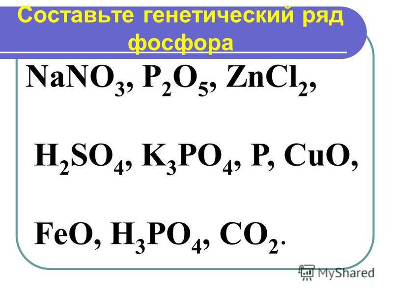 Составьте генетический ряд фосфора NaNO 3, P 2 O 5, ZnCl 2, H 2 SO 4, K 3 PO 4, P, CuO, FeO, H 3 PO 4, CO 2.