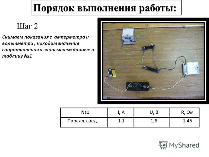 Шаг 2 Снимаем показания с амперметра и вольтметра, находим значение сопротивления и записываем данные в таблицу 1 1I, АU, ВR, Ом Паралл. соед.1,11,61,45 Порядок выполнения работы: