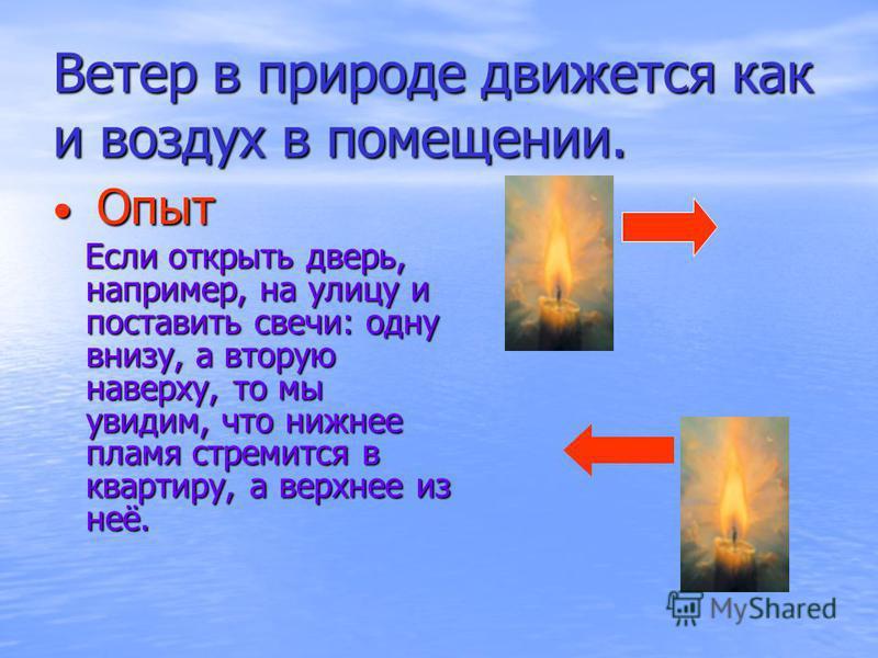 Ветер в природе движется как и воздух в помещении. Опыт Опыт Если открыть дверь, например, на улицу и поставить свечи: одну внизу, а вторую наверху, то мы увидим, что нижнее пламя стремится в квартиру, а верхнее из неё. Если открыть дверь, например,