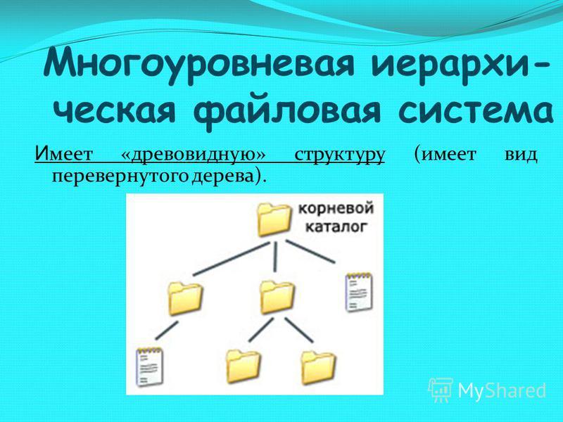 Многоуровневая иерархическая файловая система И меет «древовидную» структуру (имеет вид перевернутого дерева).