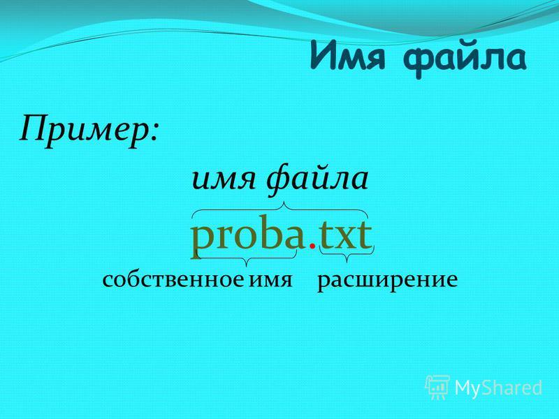 Имя файла Пример: имя файла proba.txt собственное имя расширение