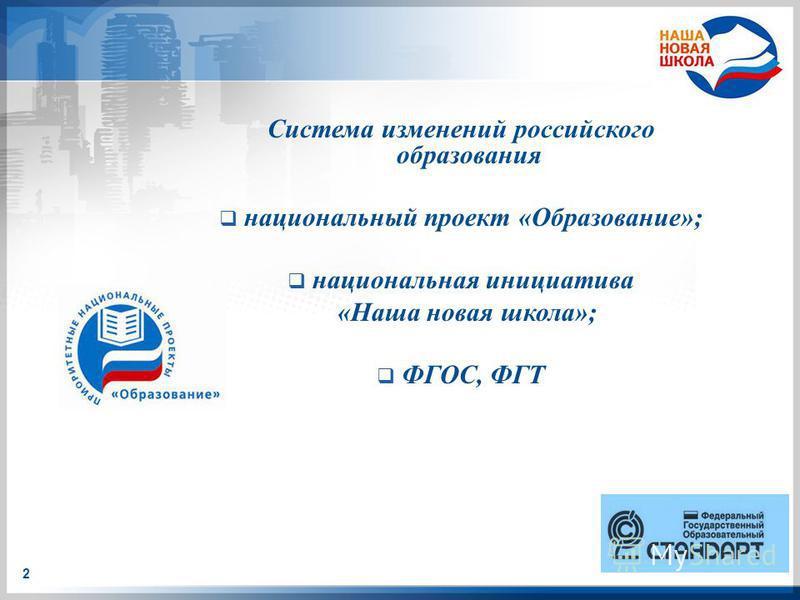 Система изменений российского образования национальный проект «Образование»; национальная инициатива «Наша новая школа»; ФГОС, ФГТ 2
