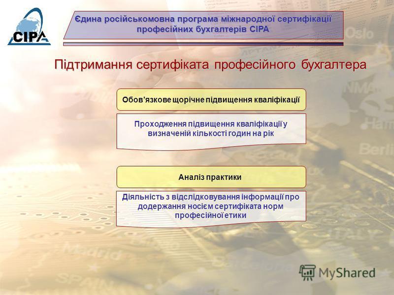Єдина російськомовна програма міжнародної сертифікації професійних бухгалтерів СІРА З чого складаються кваліфікаційні вимоги на отримання сертифікату професійного бухгалтера? знання досвід професійна етичність диплом про вищу освіту складання незалеж