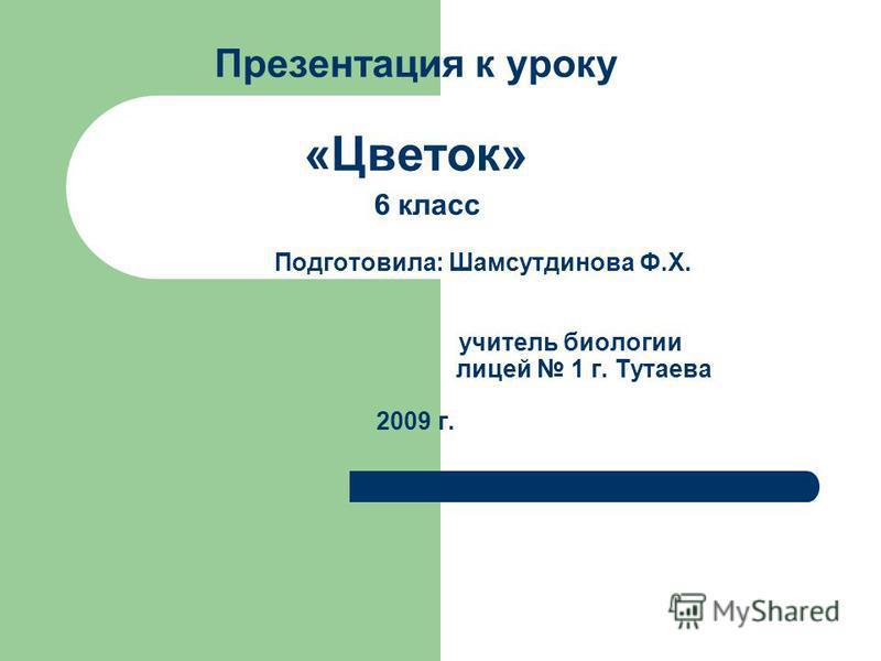 Презентация к уроку «Цветок» 6 класс Подготовила: Шамсутдинова Ф.Х. учитель биологии лицей 1 г. Тутаева 2009 г.
