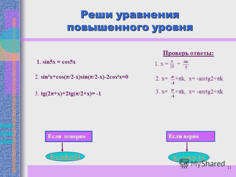 11 Реши уравнения повышенного уровня 1. sin5 х = cos5 х 2. sin²х+cos(π/2-х)sin(π/2-х)-2cos²х=0 3. tg(2π+х)+2tg(π/2+х)= -1 Проверь ответы: 1. х = + 2. х= +πk, х= -arctg2+πk 3. х= +πk, х= -arctg2+πk Если неверно Если верно К слайду 13 К слайду 14