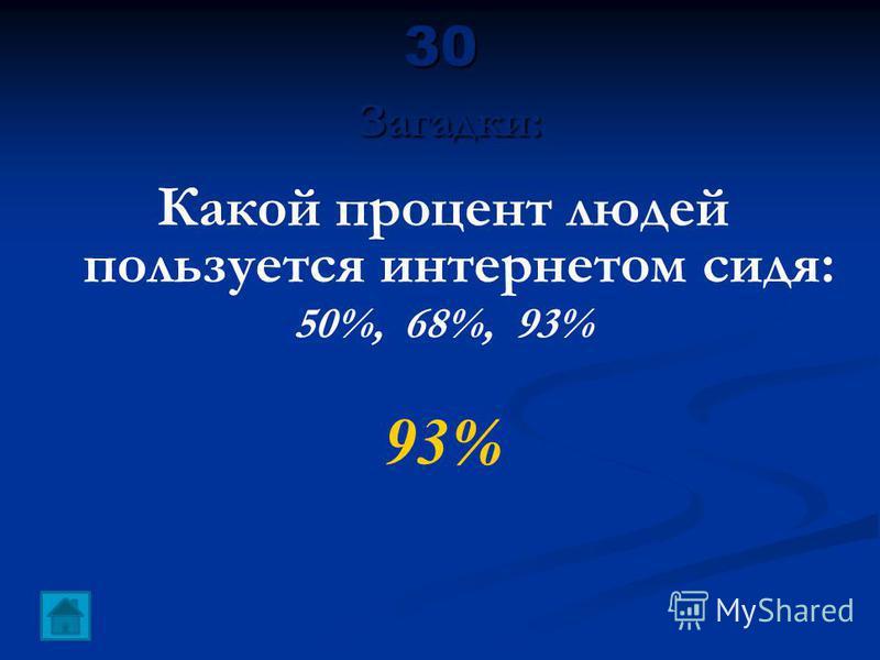 30 Загадки: Какой процент людей пользуется интернетом сидя: 50%, 68%, 93% 93%