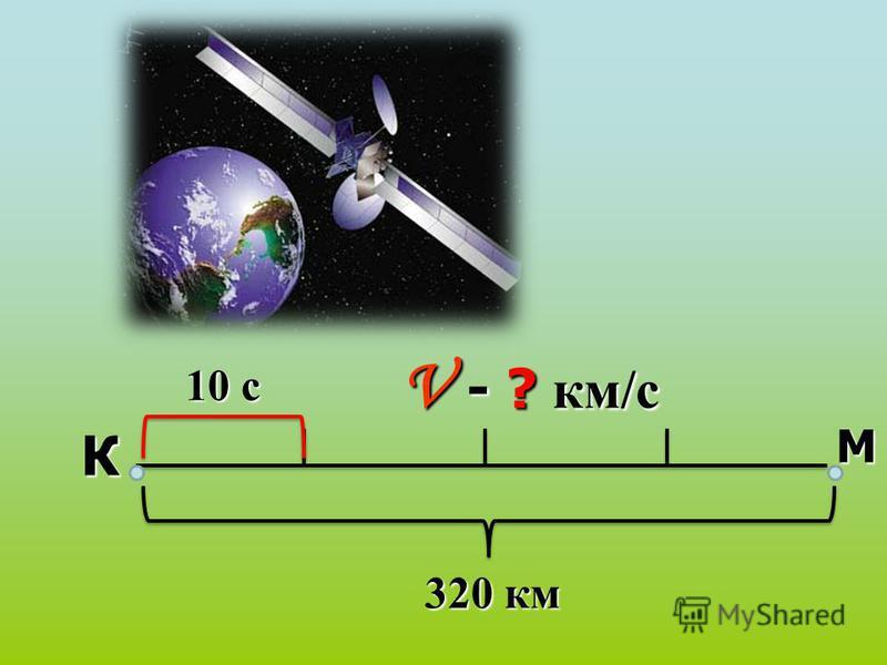 К М 320 км 10 с 10 с V - ? км/с