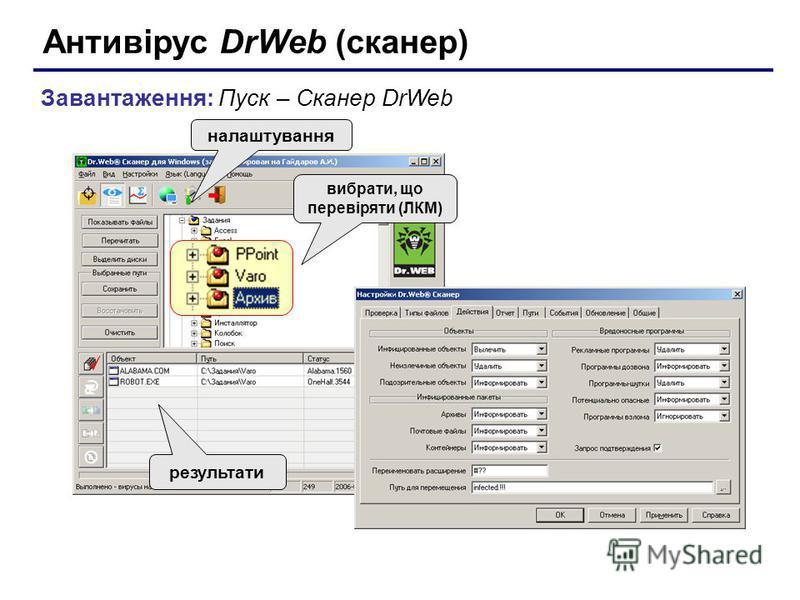 Антивірус DrWeb (сканер) Завантаження: Пуск – Сканер DrWeb старт налаштування вибрати, що перевіряти (ЛКМ) результати