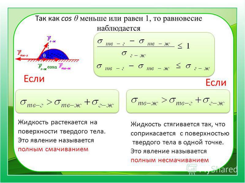 Так как cos θ меньше или равен 1, то равновесие наблюдается Если Жидкость растекается на поверхности твердого тела. Это явление называется полным смачиванием Если Жидкость стягивается так, что соприкасается с поверхностью твердого тела в одной точке.