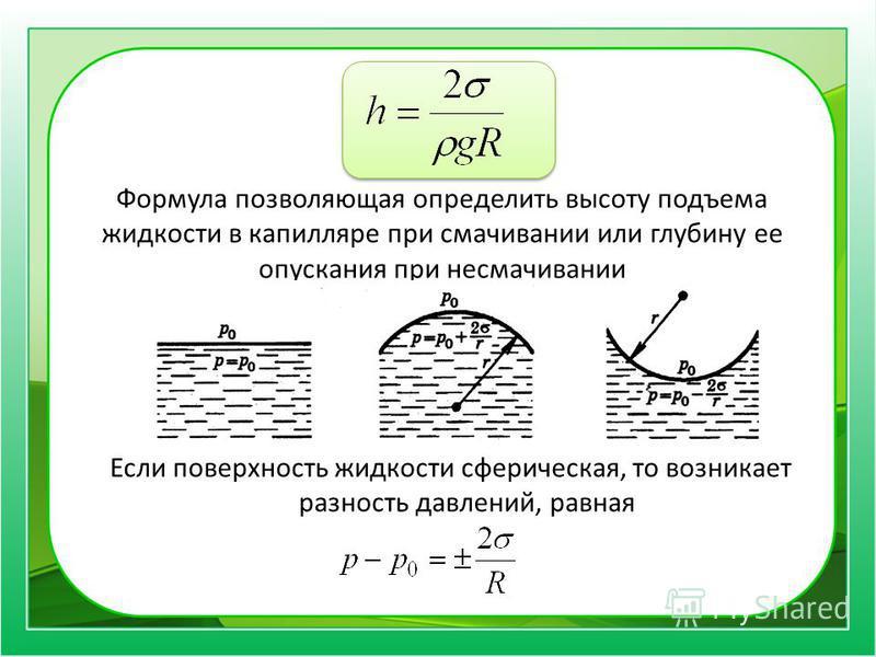 Формула позволяющая определить высоту подъема жидкости в капилляре при смачивании или глубину ее опускания при несмачивании Если поверхность жидкости сферическая, то возникает разность давлений, равная