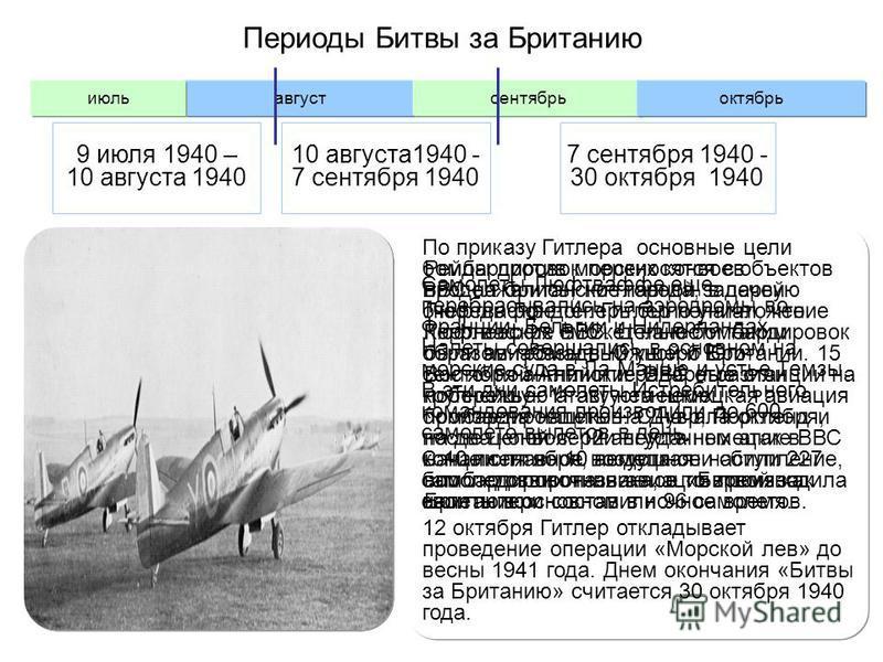 Периоды Битвы за Британию Самолеты Люфтваффе еще перебрасывались на аэродромы во Франции, Бельгии и Нидерландах. Налеты совершались в основном на морские суда в Ла-Манше и устье Темзы. В эти дни самолеты Истребительного командования производили до 60