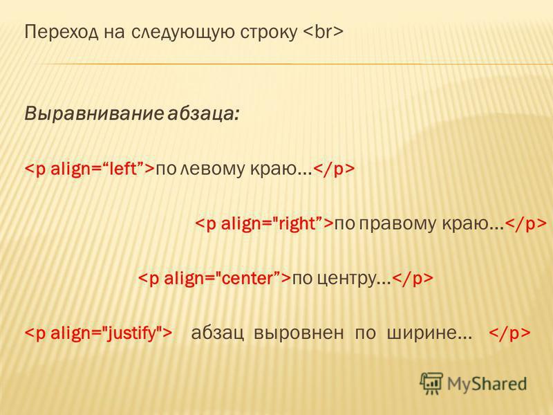 Переход на следующую строку Выравнивание абзаца: по левому краю... по правому краю... по центру... абзац выровнен по ширине...