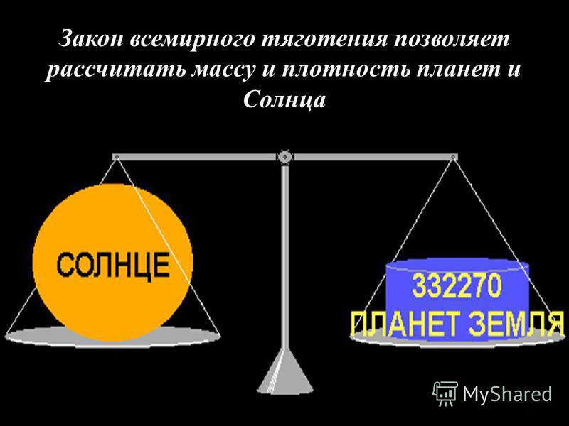 Закон всемирного тяготения позволяет рассчитать массу и плотность планет и Солнца