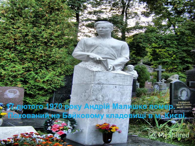 17 лютого 1970 року Андрій Малишко помер. Похований на Байковому кладовищі в м. Києві.