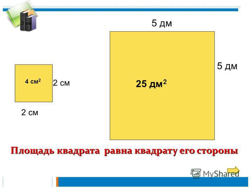 3 мм 2 см 5 дм Площадь квадрата равна квадрату его стороны 4 см 2 25 дм 2