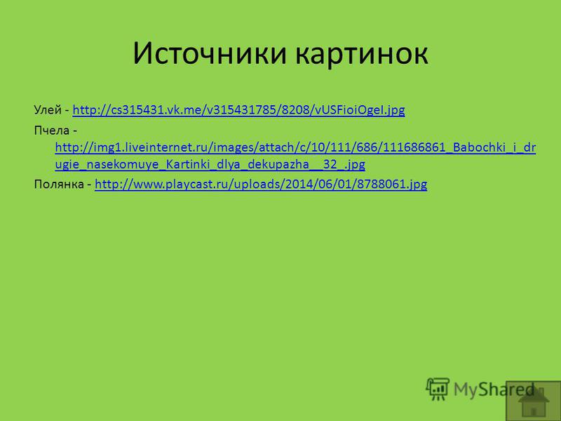 Источники картинок Улей - http://cs315431.vk.me/v315431785/8208/vUSFioiOgeI.jpghttp://cs315431.vk.me/v315431785/8208/vUSFioiOgeI.jpg Пчела - http://img1.liveinternet.ru/images/attach/c/10/111/686/111686861_Babochki_i_dr ugie_nasekomuye_Kartinki_dlya_