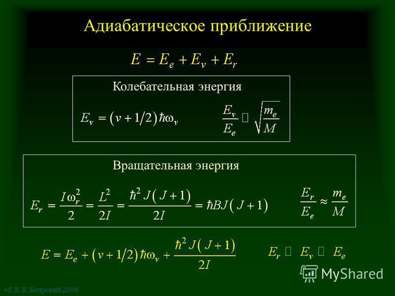 Адиабатическое приближение Колебательная энергия Вращательная энергия © К.К.Боярский 2009