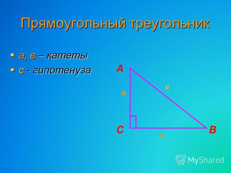Прямоугольный треугольник а, в – катеты а, в – катеты с - гипотенуза с - гипотенуза СВ а А в с